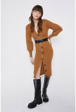 Camel Belt Detail Cardigan Dress