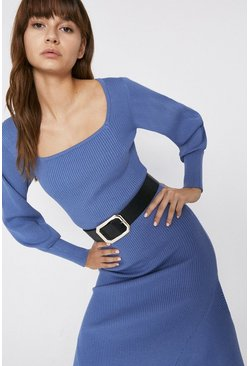 Powder blue Belt Detail Knitted Dress