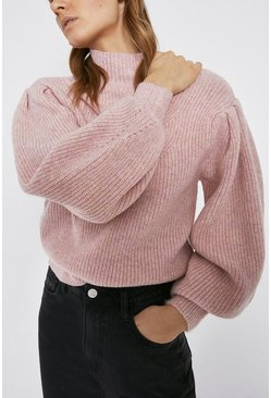Pink Stitch Detail Chunky Roll Neck Jumper