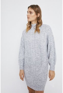 Grey marl Cable Premium Wool Blend Knit Dress