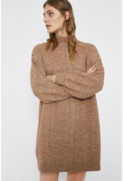 Mushroom Cable Premium Wool Blend Knit Dress