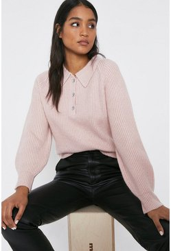 Pink Wool Blend Collar Detail Diamante Button Jumper