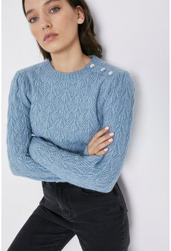 Cornflower blue Premium Wool Blend Diamante Button Jumper