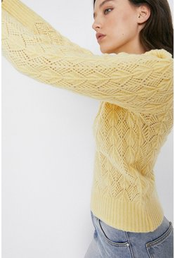 Lemon Premium Wool Blend Diamante Button Jumper