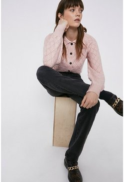Pink Premium Wool Blend Collar Detail Stitchy Cardigan