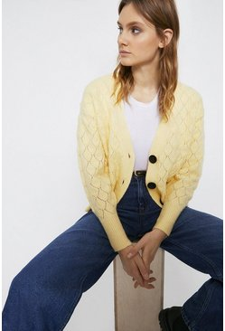 Lemon Premium Wool Blend Stitchy Detail V Neck Cardigan