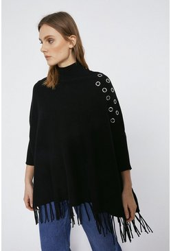 Black Eyelet Detail Knitted Cape