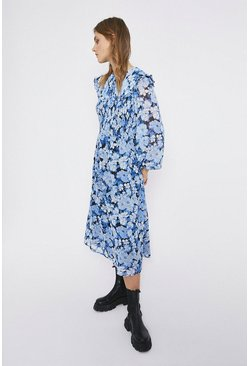 Blue Bloom Floral Collar Detail Midi Dress