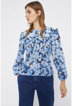 Blue Bloom Floral Print Collar Detail Top
