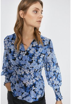 Blue Bloom Floral Print Wrap Top