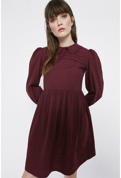 Plum Collar Detail Pintuck Mini Dress