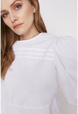 White  Pintuck Detail Peplum Blouse