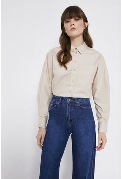 Stone Cotton Oversized Shirt