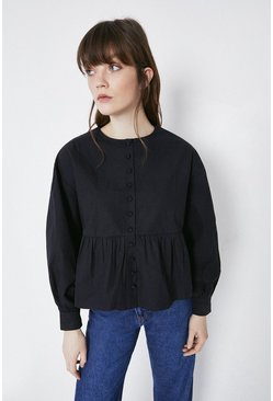 Black Trapeze Button Through Blouse