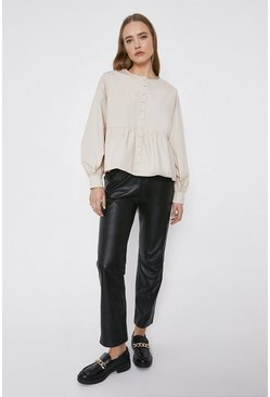 Stone Trapeze Button Through Blouse