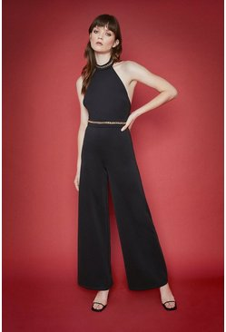 Black Chain Detail Jumpsuit