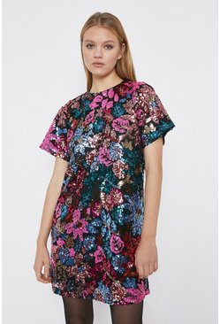 Multi Floral Sequin Short Dress