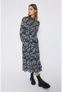 Black Tiered Midaxi Floral Dress