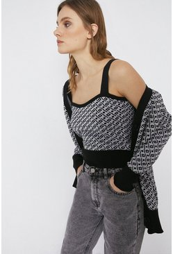 Mono Geo Jacquard Knitted Cropped Vest