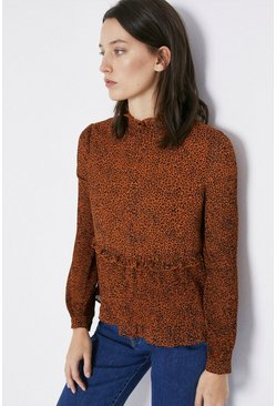 Orange Animal Pleated Hem Top