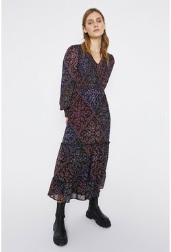 Multi Paisley Print Sheered V-Neck Midi Dress