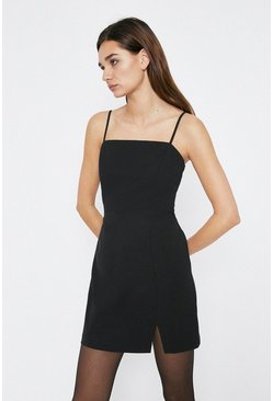 Black Tailored Notch Hem Mini Dress