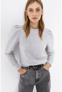 Grey marl Quilted Puff Sleeve Sweat