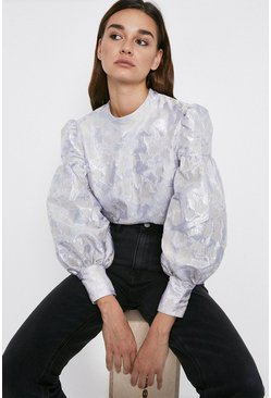 Silver Jacquard Puff Sleeve Top