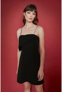 Black Diamante Strap Assymetrical Mini Dress