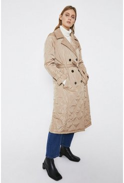 Camel Quilted Trench