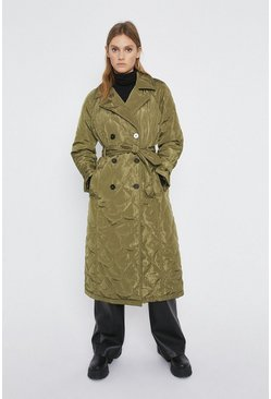 Khaki Quilted Trench