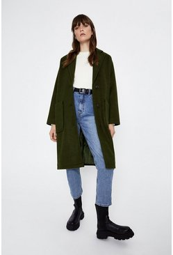 Khaki Patch Pocket Single Breasted Coat