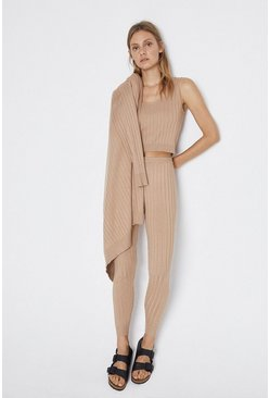 Stone Ribbed Knitted 3 Pieces Loungewear Set