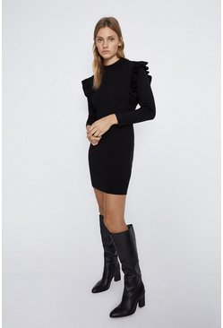 Black Frill Detail Knitted Dress