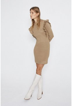 Camel Frill Detail Knitted Dress