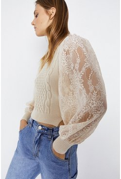 Cream 2 In 1 Lace Sleeve Cable Knit Jumper