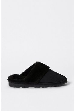 Black  Fur Trim Slippers
