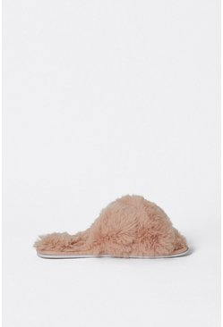 Blush Cross Front Furry Slippers