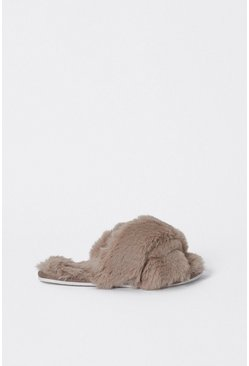 Grey Cross Front Furry Slippers