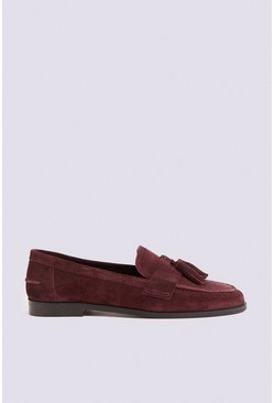 Berry Leather Tassel Loafer