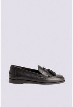 Black Leather Tassel Loafer