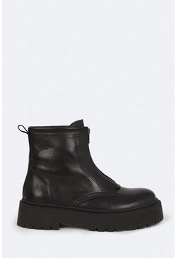 Black Chunky Zip Ankle Boot