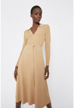 Camel Knitted Rib Collar Dress