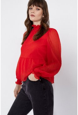 Red Textured Smocked Detail Top