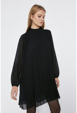 Black Pleated Swing Dress