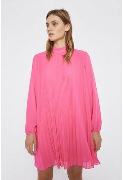 Pink Pleated Swing Dress