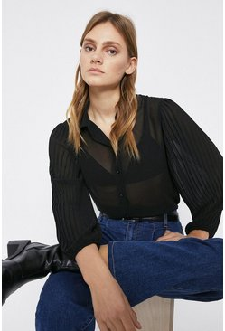 Black Pleated Sleeve Shirt