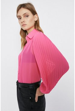 Pink Pleated Sleeve Shirt