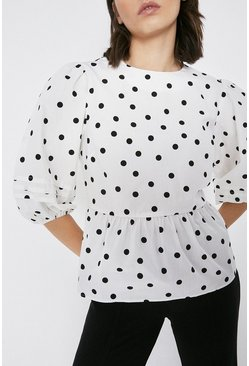 White Spot Pintuck Detail Peplum Blouse