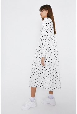 White Spot Oversized Smock Midi Dress